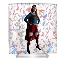 Shower Curtain featuring the mixed media Supergirl Splash Super Hero Series by Movie Poster Prints