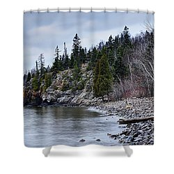 Shower Curtain featuring the photograph Superior Cliffs by Larry Ricker