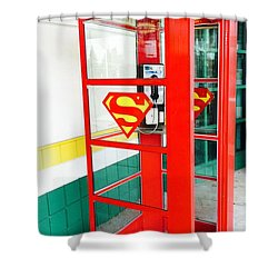 Shower Curtain featuring the photograph Superman Phone Booth by Michael Krek
