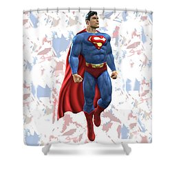 Shower Curtain featuring the mixed media Superman Splash Super Hero Series by Movie Poster Prints