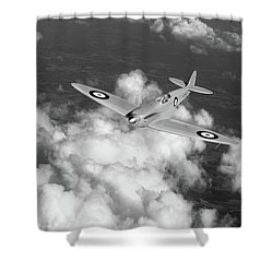 Shower Curtain featuring the photograph Supermarine Spitfire Prototype K5054 Black And White Version by Gary Eason