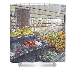 Shower Curtain featuring the photograph Supermarket Produce Section by David Zanzinger