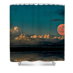 Supermoon Shower Curtain by Elaine Hunter