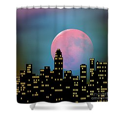 Supermoon Over The City Shower Curtain