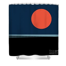 Shower Curtain featuring the digital art Supermoon Over The Sea by Klara Acel
