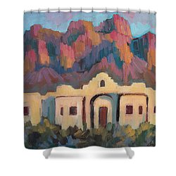 Shower Curtain featuring the painting Superstition Mountain Evening by Diane McClary