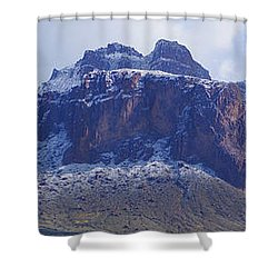 Shower Curtain featuring the photograph Superstition Mountain Snowfall by Broderick Delaney