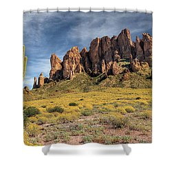 Shower Curtain featuring the photograph Superstition Mountains Saguaro by James Eddy