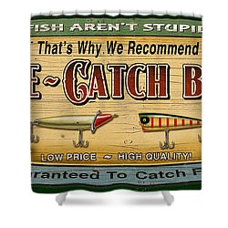 Sure Catch Baits Sign Shower Curtain by Jon Q Wright