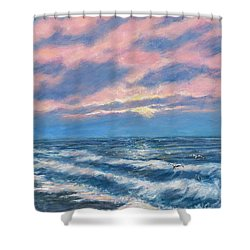 Surf And Clouds Shower Curtain by Kathleen McDermott