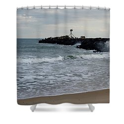 Surf Beach At Manasquan Inlet Shower Curtain