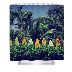 Shower Curtain featuring the photograph Surf Board Fence Maui Hawaii Vintage by Edward Fielding