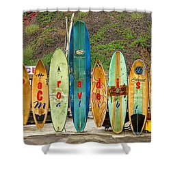 malibu surfboards shower curtain by donovan torres