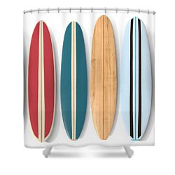 Shower Curtain featuring the digital art Surf Boards Row by Edward Fielding