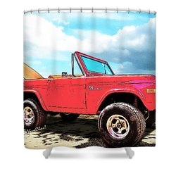 Surf Bronco Beyond The 4 Wheel Drive Only Sign Padre Island Shower Curtain