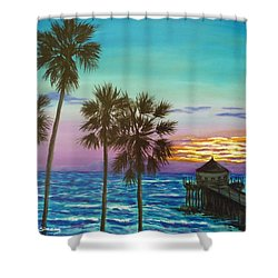 Shower Curtain featuring the painting Surf City Sunset by Amelie Simmons