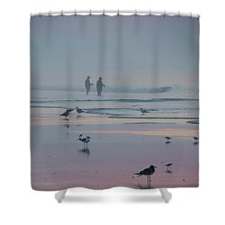 Shower Curtain featuring the photograph Surf Fishing In Wildwood by Bill Cannon