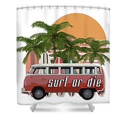 Shower Curtain featuring the digital art Surf Or Die 2 by Edward Fielding