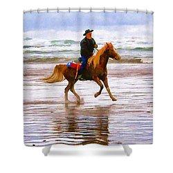 Shower Curtain featuring the photograph Surf Rider by Wendy McKennon