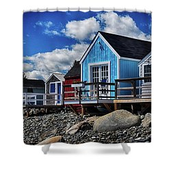 Surf Shacks Shower Curtain by Tricia Marchlik