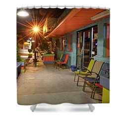 Surf Side Bar At Night Shower Curtain