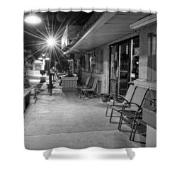 Surf Side Bar At Night In Black And White Shower Curtain