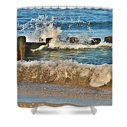 Surf Stir - Jersey Shore Shower Curtain by Angie Tirado