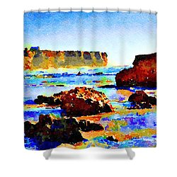 Shower Curtain featuring the painting Surf The Headlands by Angela Treat Lyon