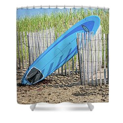 Shower Curtain featuring the photograph Surfboard And Sandals by Art Block Collections