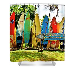 surfboard fence iithe amazing race shower curtain by jim cazel