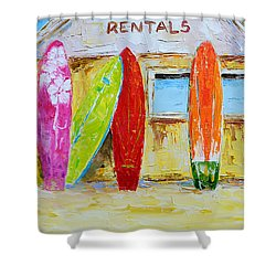Surf Board Rental Shack At The Beach - Modern Impressionist Palette Knife Work Shower Curtain