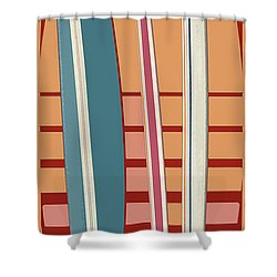 Shower Curtain featuring the digital art Surfboard Sunset by Edward Fielding