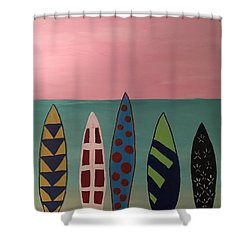 Surfboards At On Beach Shower Curtain