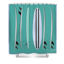 Shower Curtain featuring the digital art Surfboards Blue Square by Edward Fielding