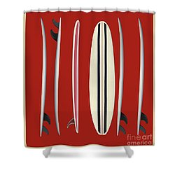 Shower Curtain featuring the digital art Surfboards Red Square by Edward Fielding