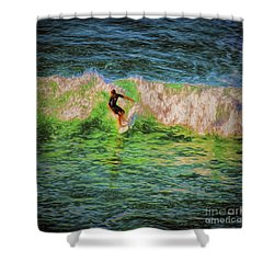 Shower Curtain featuring the photograph Surfer  ... by Chuck Caramella