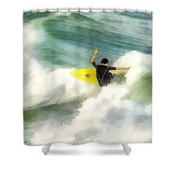 Shower Curtain featuring the digital art Surfer 76 by Francesa Miller