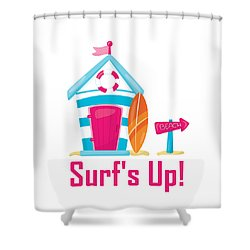 Surfer Art - Surf's Up Cabana House To The Beach Shower Curtain