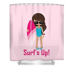 Surfer Art Surf's Up Girl With Surfboard #18 Shower Curtain