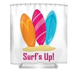Surfer Art - Surf's Up Surfboards Shower Curtain