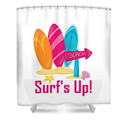Surfer Art - Surf's Up To The Beach With Surfboards Shower Curtain