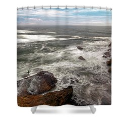 Surfer At Cape Kiwanda In Pacific City Shower Curtain by David Gn