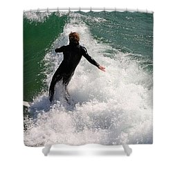 Surfer Catching A Wave Shower Curtain
