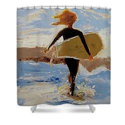 Surfer Girl Shower Curtain by Barbara Andolsek