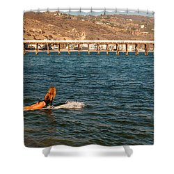 Surfer Girl Shower Curtain by James Kirkikis