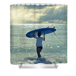 Surfer Girl Shower Curtain by Laura Fasulo