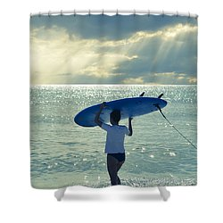Surfer Girl Square Shower Curtain by Laura Fasulo