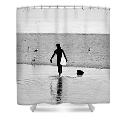 Shower Curtain featuring the photograph Surfer In Silhouette by Antonia Citrino