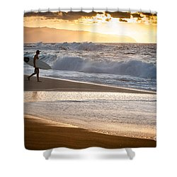Surfer On Beach Shower Curtain