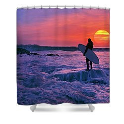 Surfer On Rock Looking Out From Blowing Rocks Preserve On Jupiter Island Shower Curtain by Justin Kelefas